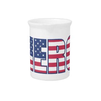 Hero American Flag Stars Stripes Red White Blue Drink Pitcher