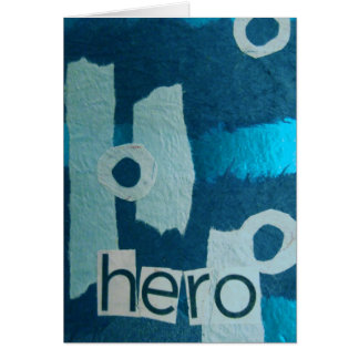 Hero Blue mixed media collage Greeting Cards