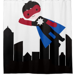 Hero Boy in City With Skyscrapers Shower Curtain