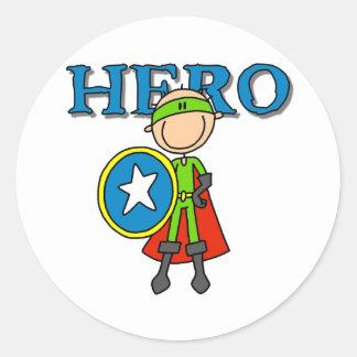 Hero Boy with Shield Classic Round Sticker