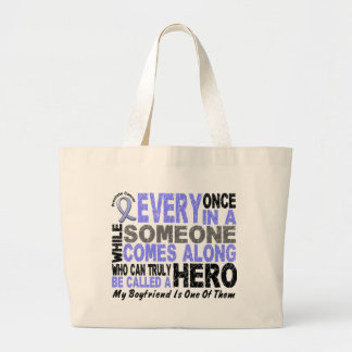 HERO COMES ALONG 1 Boyfriend PROSTATE CANCER Large Tote Bag