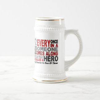 HERO COMES ALONG 1 Cousin BRAIN CANCER T-Shirts 18 Oz Beer Stein