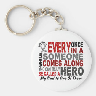 HERO COMES ALONG 1 Dad BRAIN CANCER T-Shirts Keychain