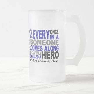 HERO COMES ALONG 1 Dad COLON CANCER 16 Oz Frosted Glass Beer Mug