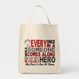 Hero Comes Along 1 Dad Lung Cancer Grocery Tote Bag