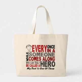 Hero Comes Along 1 Dad Lung Cancer Jumbo Tote Bag