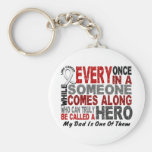 Hero Comes Along 1 Dad Lung Cancer Basic Round Button Keychain