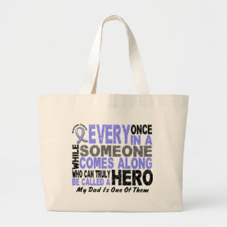 HERO COMES ALONG 1 Dad PROSTATE CANCER Large Tote Bag