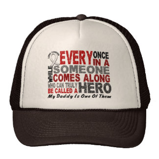 HERO COMES ALONG 1 Daddy LUNG CANCER Mesh Hat