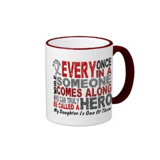 HERO COMES ALONG 1 Daughter BRAIN CANCER T-Shirts Ringer Mug