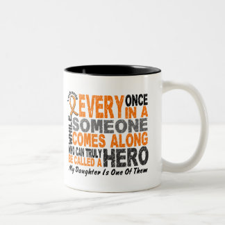 HERO COMES ALONG 1 Daughter LEUKEMIA T-Shirts Two-Tone Coffee Mug