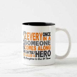 HERO COMES ALONG 1 Daughter LEUKEMIA T-Shirts Two-Tone Coffee Mug