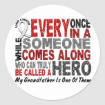 HERO COMES ALONG 1 Grandfather LUNG CANCER Round Sticker