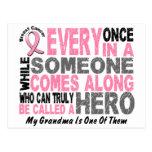 HERO COMES ALONG 1 Grandma BREAST CANCER T-Shirts Postcard