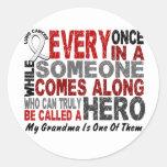 Hero Comes Along 1 Grandma Lung Cancer Round Sticker