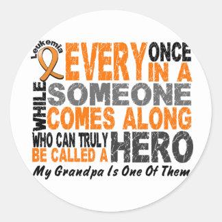 HERO COMES ALONG 1 Grandpa LEUKEMIA T-Shirts Round Stickers
