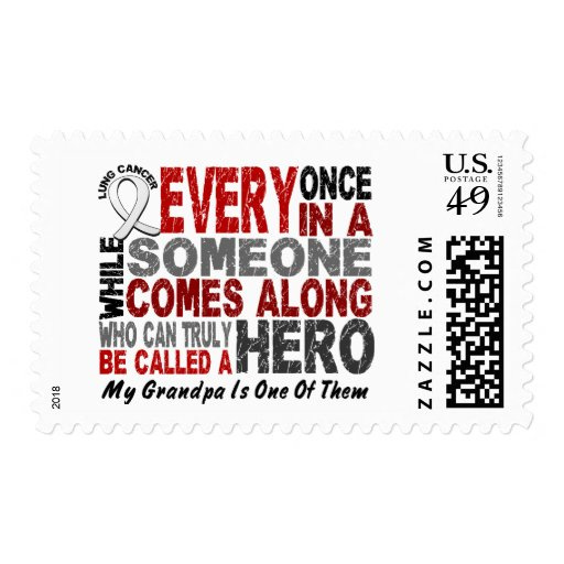 HERO COMES ALONG 1 Grandpa LUNG CANCER Postage