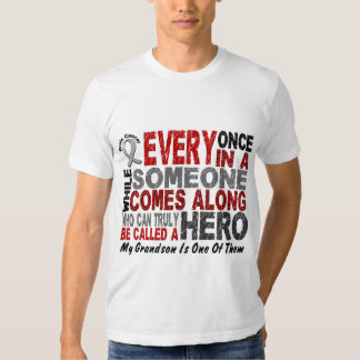 HERO COMES ALONG 1 Grandson BRAIN CANCER T-Shirts