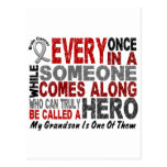 HERO COMES ALONG 1 Grandson BRAIN CANCER T-Shirts Postcards