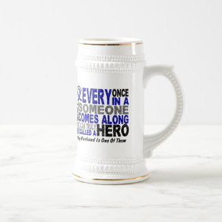 HERO COMES ALONG 1 Husband COLON CANCER 18 Oz Beer Stein
