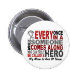 HERO COMES ALONG 1 Mom BRAIN CANCER T-Shirts Buttons