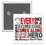 HERO COMES ALONG 1 Mommy LUNG CANCER Pinback Button