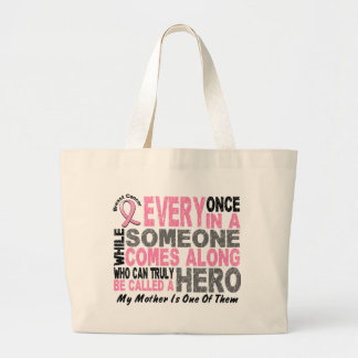 HERO COMES ALONG 1 Mother BREAST CANCER T-Shirts Bags