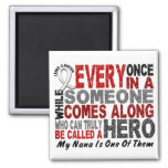 HERO COMES ALONG 1 Nana LUNG CANCER 2 Inch Square Magnet