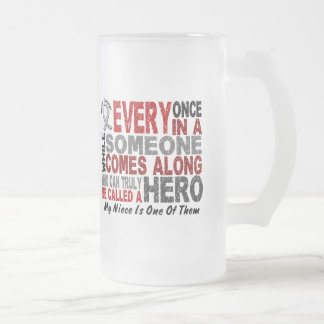 HERO COMES ALONG 1 Niece BRAIN CANCER T-Shirts 16 Oz Frosted Glass Beer Mug