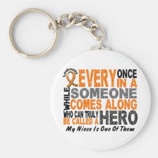 HERO COMES ALONG 1 Niece LEUKEMIA T-Shirts Keychain