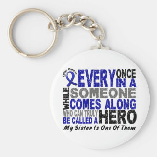 HERO COMES ALONG 1 Sister COLON CANCER T-Shirts Keychain