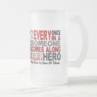 HERO COMES ALONG 1 Son BRAIN CANCER T-Shirts 16 Oz Frosted Glass Beer Mug