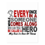 HERO COMES ALONG 1 Son BRAIN CANCER T-Shirts Post Card