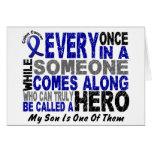 HERO COMES ALONG 1 Son COLON CANCER T-Shirts Card