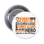 HERO COMES ALONG 1 Son LEUKEMIA T-Shirts 2 Inch Round Button