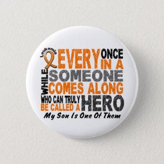 HERO COMES ALONG 1 Son LEUKEMIA T-Shirts Button