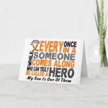 HERO COMES ALONG 1 Son LEUKEMIA T-Shirts Card