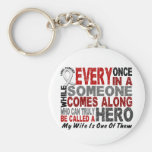 Hero Comes Along 1 Wife Lung Cancer Basic Round Button Keychain