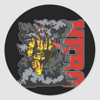 HERO Firefighter Classic Round Sticker