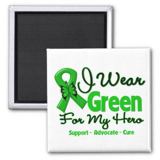 Hero - Green  Awareness Ribbon 2 Inch Square Magnet