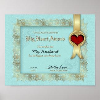 Hero Heart Award Certificate Best Husband Poster