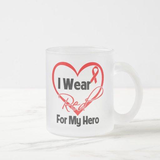 Hero - I Wear a Red Heart Ribbon 10 Oz Frosted Glass Coffee Mug
