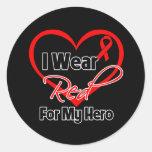 Hero - I Wear a Red Heart Ribbon Classic Round Sticker