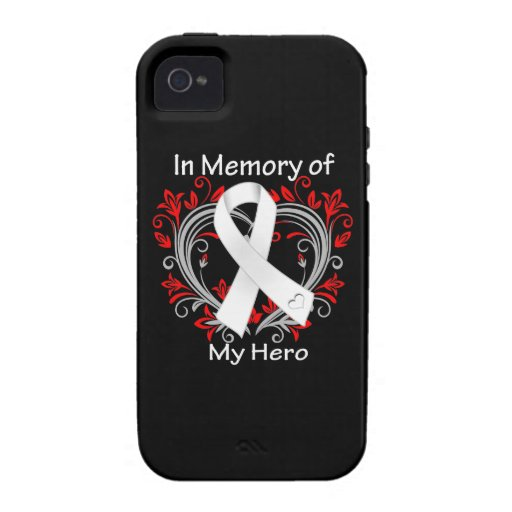 Hero - In Memory Lung Cancer Heart Vibe iPhone 4 Cases