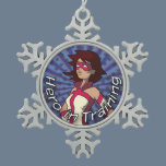 Hero in Training Snowflake Pewter Christmas Ornament