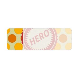 HERO Label on Polka Dot Pattern Return Address Label