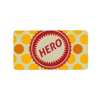 HERO Label on Polka Dot Pattern Address Label