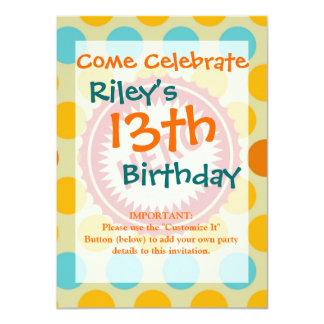 HERO Label on Polka Dot Pattern 4.5x6.25 Paper Invitation Card