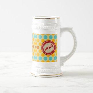 HERO Label on Polka Dot Pattern 18 Oz Beer Stein