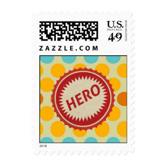 HERO Label on Polka Dot Pattern Stamp